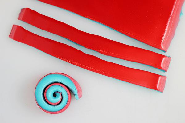 4th of July Marshmallow Pinwheels --Cut Strips