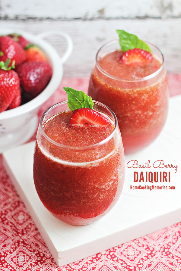 Basil Berry Daiquiri Cocktail Recipe - an easy summer cocktail great for parties, barbecues…or anytime!