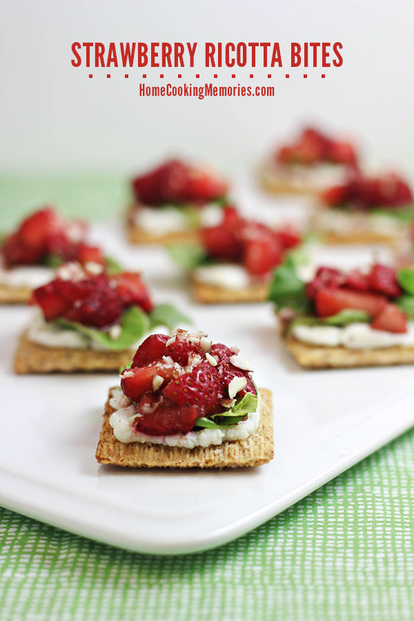 Strawberry Ricotta Bites -- an easy snack or appetizer that you can make in less than 30 minutes. #TriscuitSnackoff