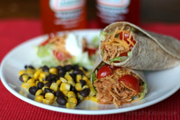 3-Ingredient Crock-Pot Chicken Tacos by Two Healthy Kitchens