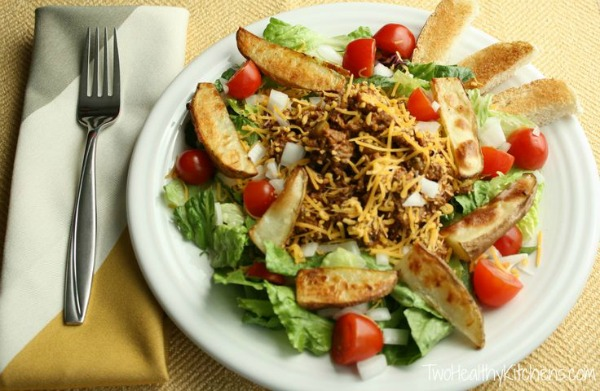 Cheeseburger Salad with Oven-Roasted Fries by Two Healthy Kitchens