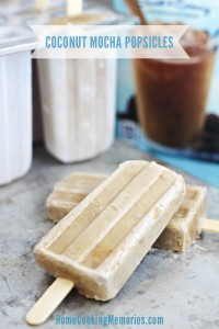 Coconut Mocha Popsicles - an easy frozen treat with only 3 ingredients! A must for anyone who loves coffee and coconut.