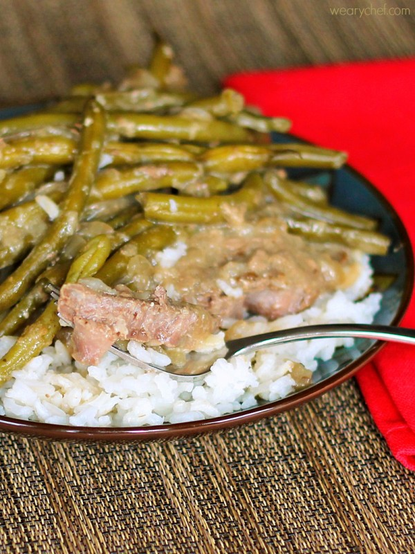 Fork Tender Steaks with Green Beans and Gravy by The Weary Chef