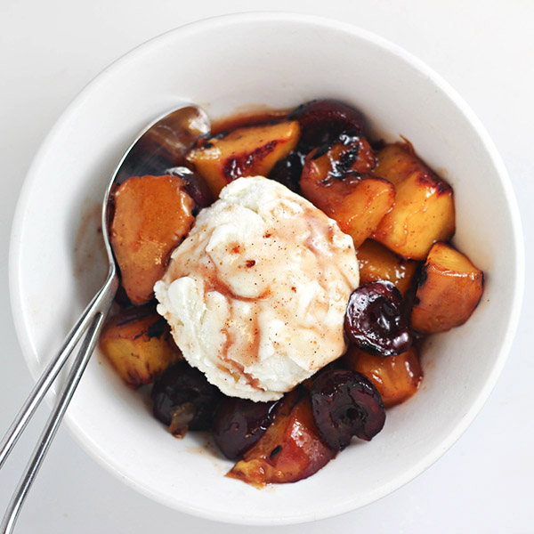 Grilled Peaches and Cherries with Vanilla Ice Cream