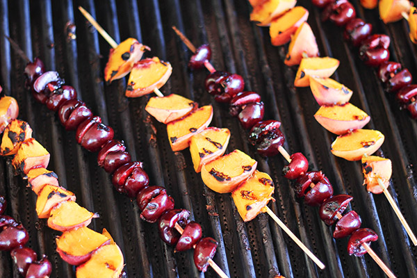 Grilled Peach and Cherry Skewers
