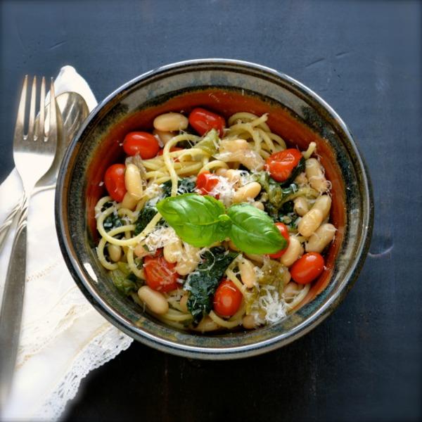 Spaghetti with Escarole White Bean and Tomato by Taste Love and Nourish