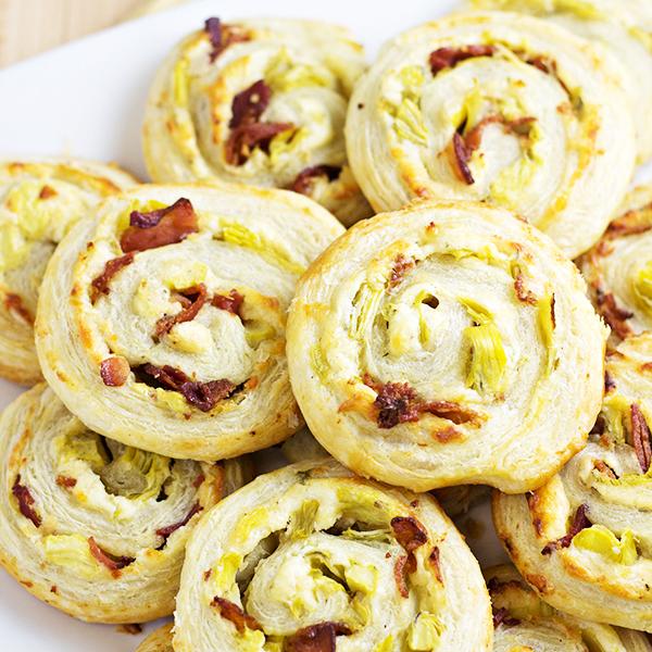 Artichoke Bacon Pinwheels Recipe