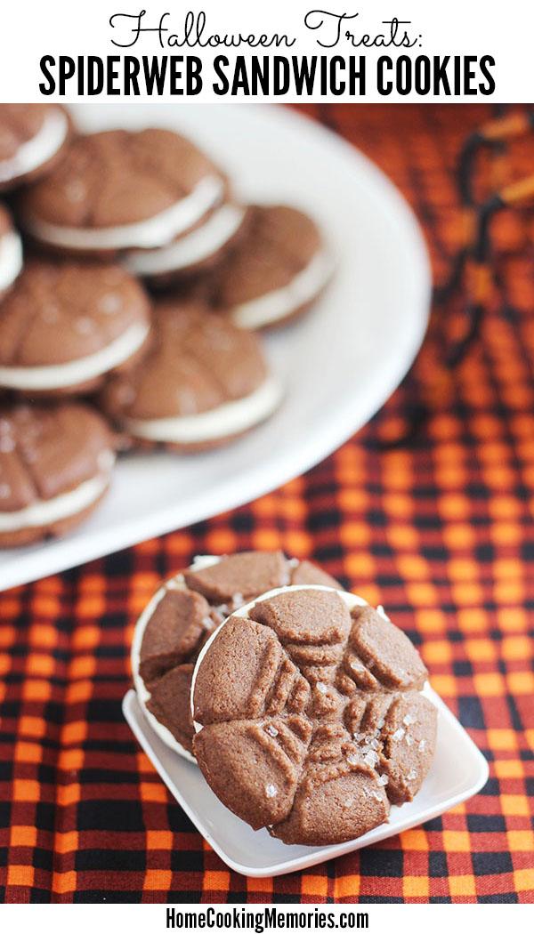 spiderweb sandwich cookies recipe for a fun halloween treat