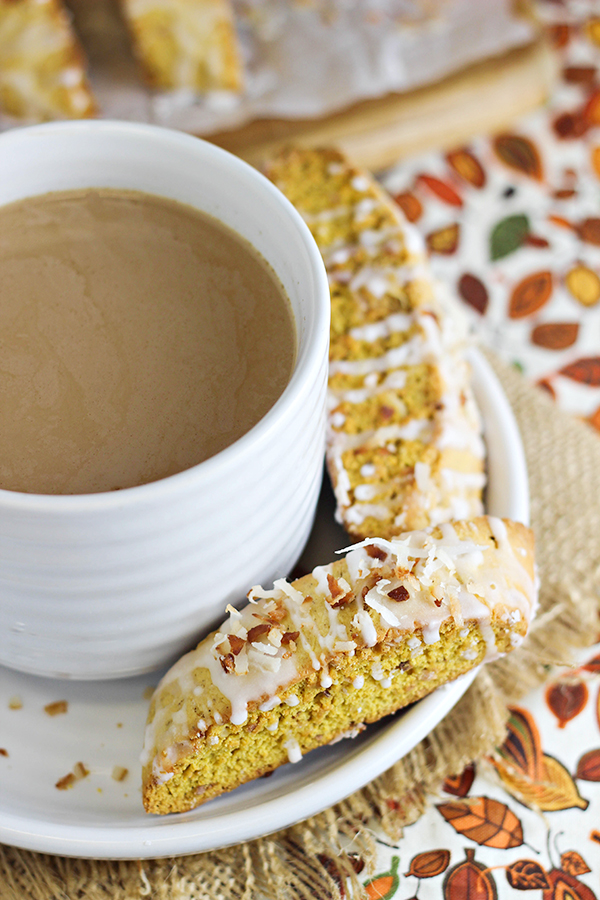 Coconut-Pumpkin Biscotti Recipe - the best of both worlds in a crispy cookie that's perfect to pair with coffee