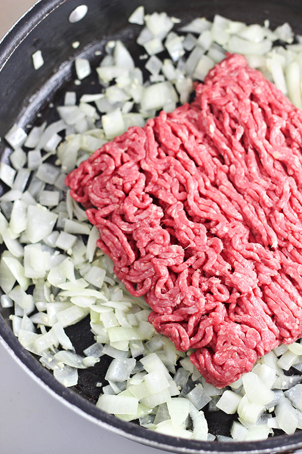 Easy One-Pan Beef Stroganoff Recipe - Cooking the ground beef and onions
