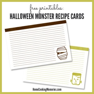Free Printable Recipe Cards for Halloween