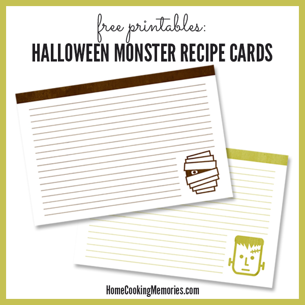 Free Printable Halloween Recipe Cards