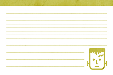 Free Printable Recipe Card - Halloween Monsters - Frankenstein