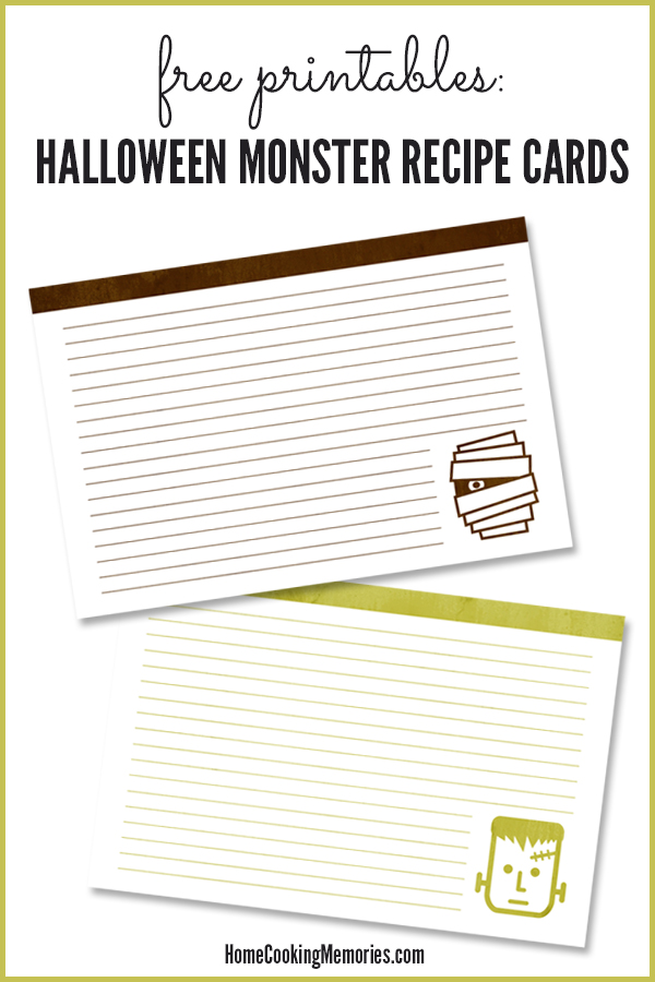 Free Printables: Halloween Monster Recipe Cards