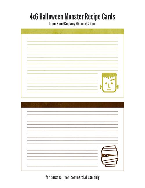 Halloween Monster Recipe Cards by HomeCookingMemories.com