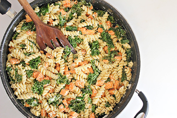 Sweet Potato and Kale Pasta Skillet