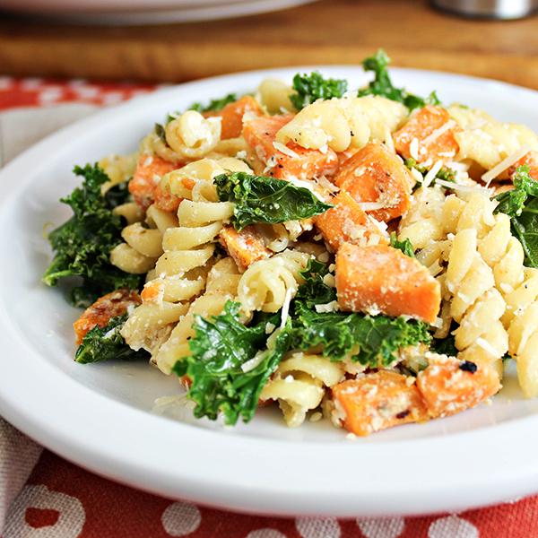 Sweet Potato and Kale Pasta Skillet
