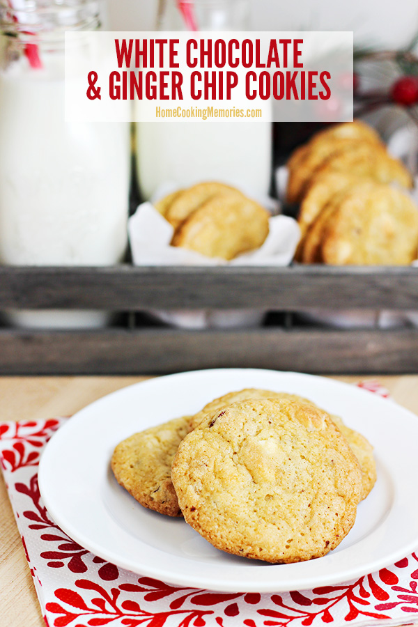 This White Chocolate & Ginger Chip Cookies recipe is a simple drop cookie dough that bakes up delicious, soft cookies with bursts of spicy ginger.
