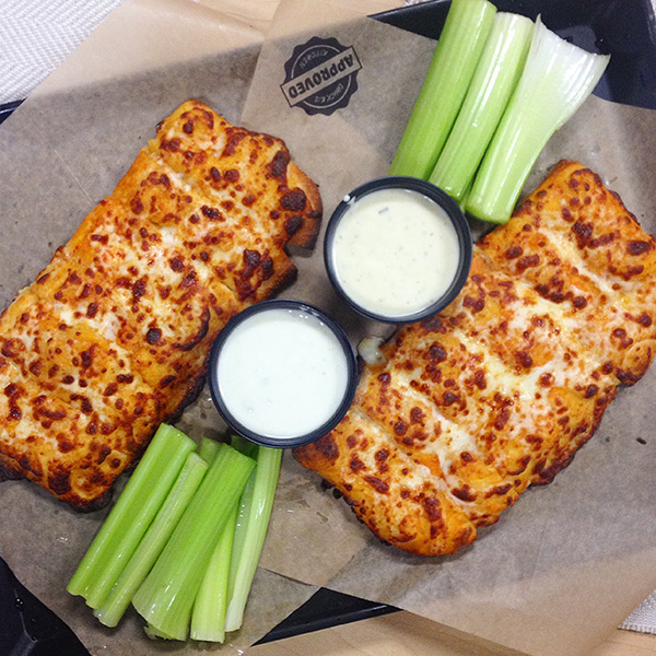 Buffalo Chicken Cheesy Bread at Chuck E Cheeses