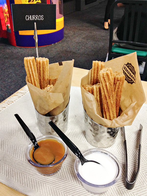 Dessert Churros with Salted Caramel and White Chocolate Icing at Chuck E Cheeses