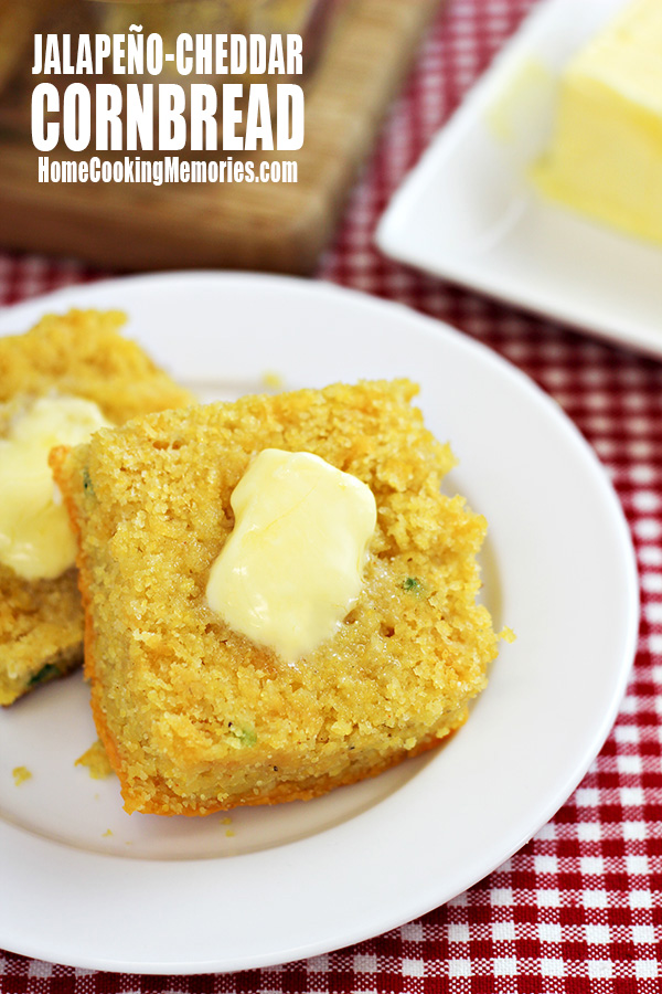 Jalapeno-Cheddar Cornbread Recipe -- pair this delicious cornbread with a bowl of chili or your favorite BBQ dinner. But don't expect there to be leftovers - it will be gone almost as quickly as you can make it!