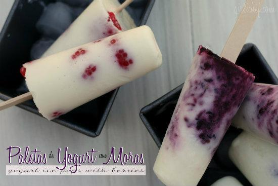 yogurt ice pops with berries - paletas con yogurt de moras by girlichef
