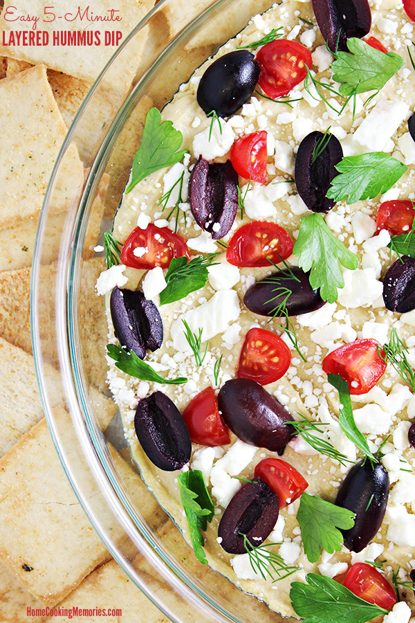 Easy 5-Minute Layered Hummus Dip Recipe