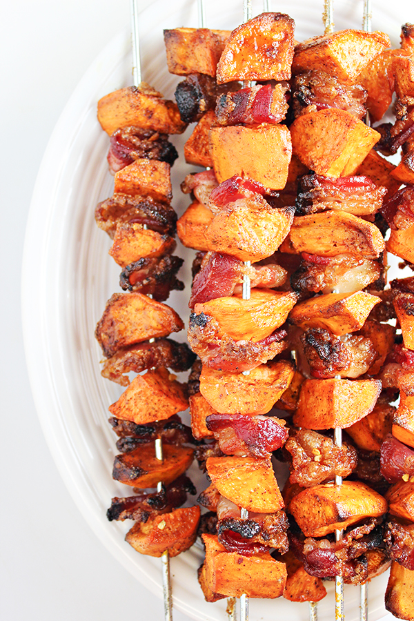 Easy side dish recipe: Sweet Potato and Bacon Skewers!