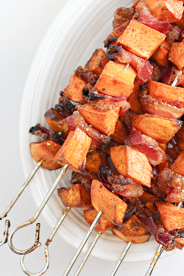 Easy side dish recipe for fall: Sweet Potato and Bacon Skewers