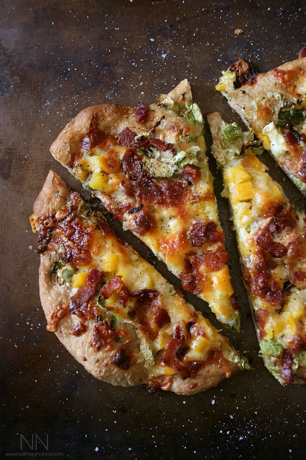 Bacon Brussels Sprouts Butternut Squash Flatbread by Nutmeg Nanny