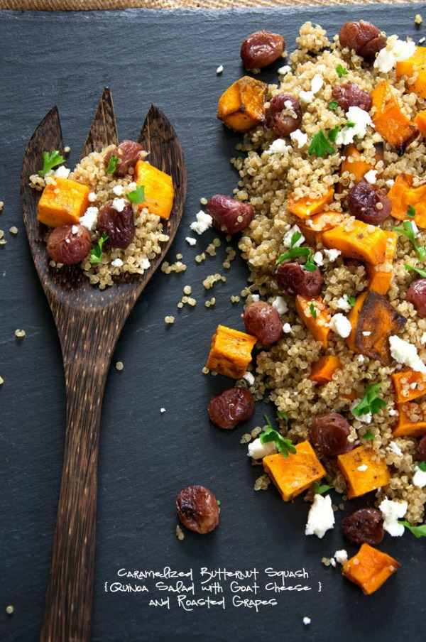 CARAMELIZED BUTTERNUT SQUASH QUINOA SALAD WITH GOAT CHEESE AND ROASTED GRAPES by Salt & Wit