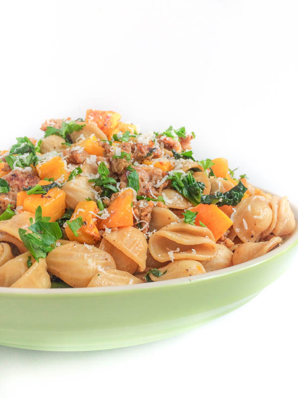 ROASTED BUTTERNUT SQUASH, SAUSAGE AND KALE PASTA
