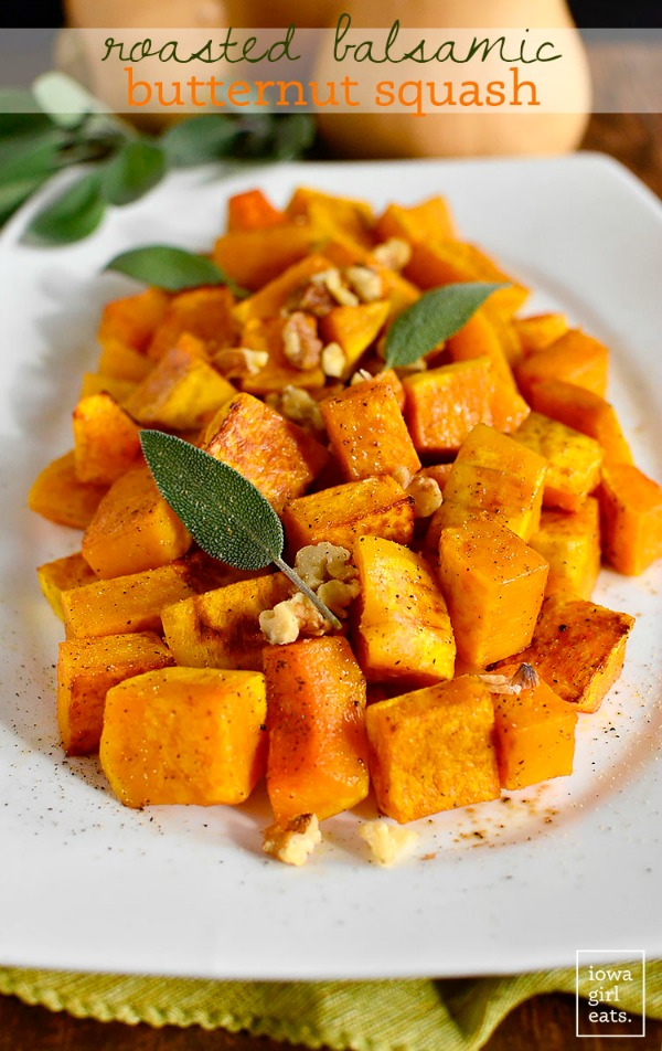 Roasted Balsamic Butternut Squash by Iowa Girl Eats