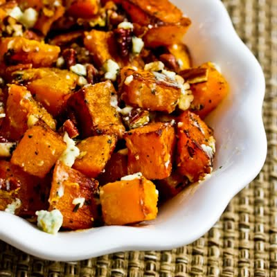 Roasted Butternut Squash Recipe with Rosemary, Pecans, and Gorgonzola Cheese by Kalyn's Kitchen