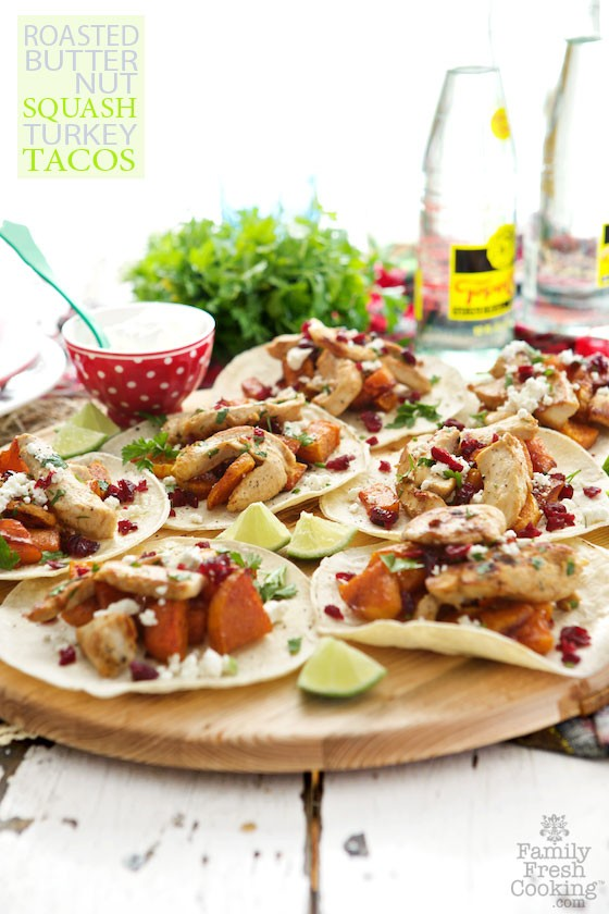 Roasted Butternut Squash & Turkey Tacos by Marla Meridith
