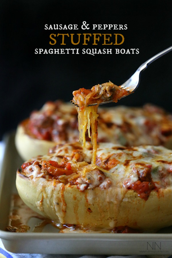 Sausage & Peppers Stuffed Spaghetti Squash Recipe by Nutmeg Nanny + more Easy Spaghetti Squash Recipes for Dinner!