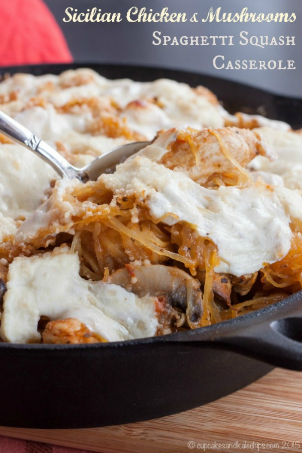 Sicilian Chicken and Mushrooms Spaghetti Squash Casserole by Cupcakes and Kale Chips + more Easy Spaghetti Squash Recipes for Dinner!