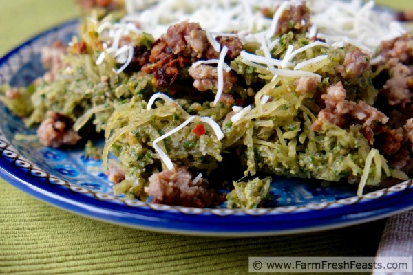 Spaghetti Squash with Mustard Greens Pesto Recipe by Farm Fresh Feast + more Easy Spaghetti Squash Recipes for Dinner!