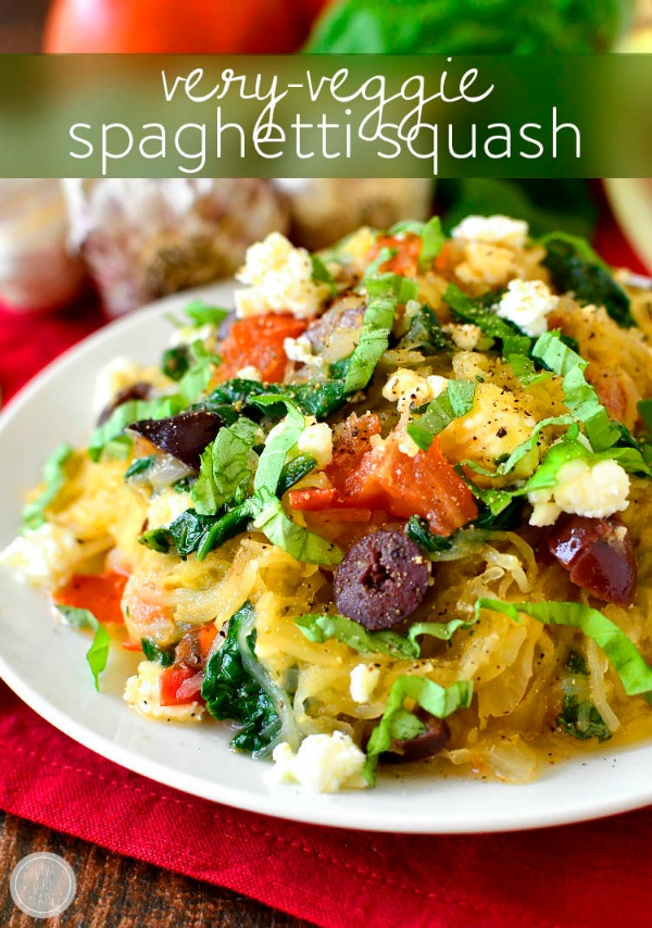 Very-Veggie Spaghetti Squash Recipe by Iowa Girl Eats + more Easy Spaghetti Squash Recipes for Dinner!