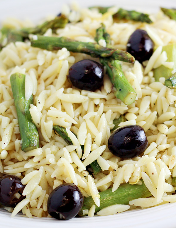 Orzo with Black Olives and Asparagus Recipe