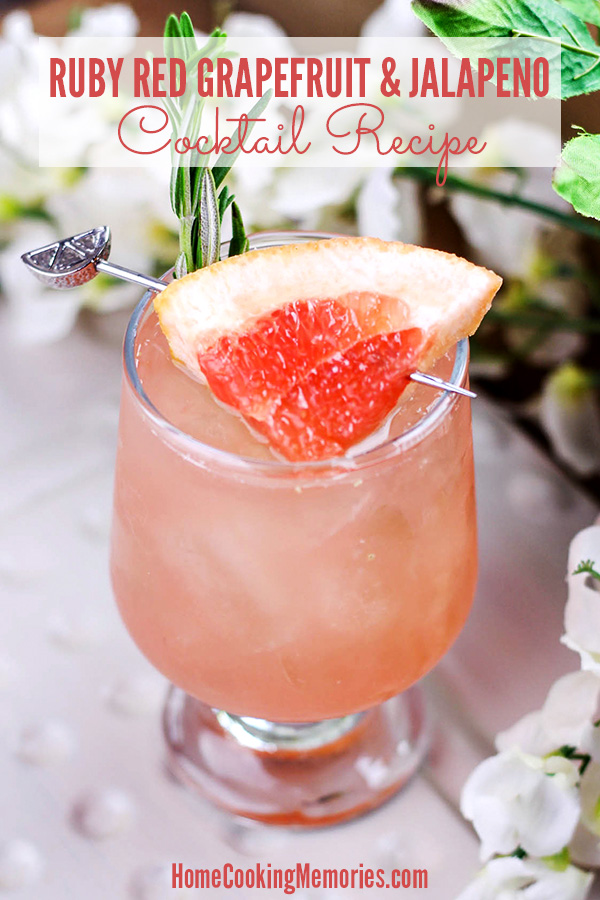 This Ruby Red Grapefruit & Jalapeno Cocktail recipe is an absolute must for adults who are fans of citrus and spicy flavors! You'll mix up two different flavors of vodka, fresh squeezed ruby red grapefruit juice, and a bit of simple syrup to enjoy this drink bursting with flavor.