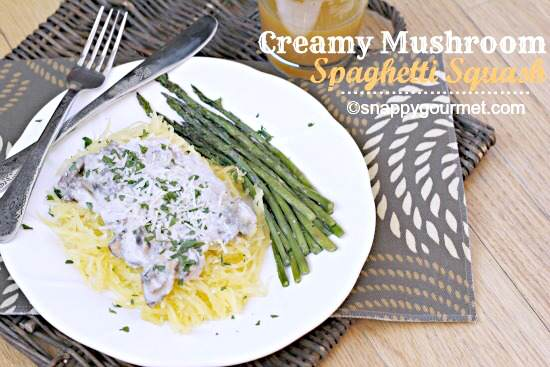 Creamy Mushroom Spaghetti Squash Recipe by Snappy Gourmet + more Easy Spaghetti Squash Recipes for Dinner!