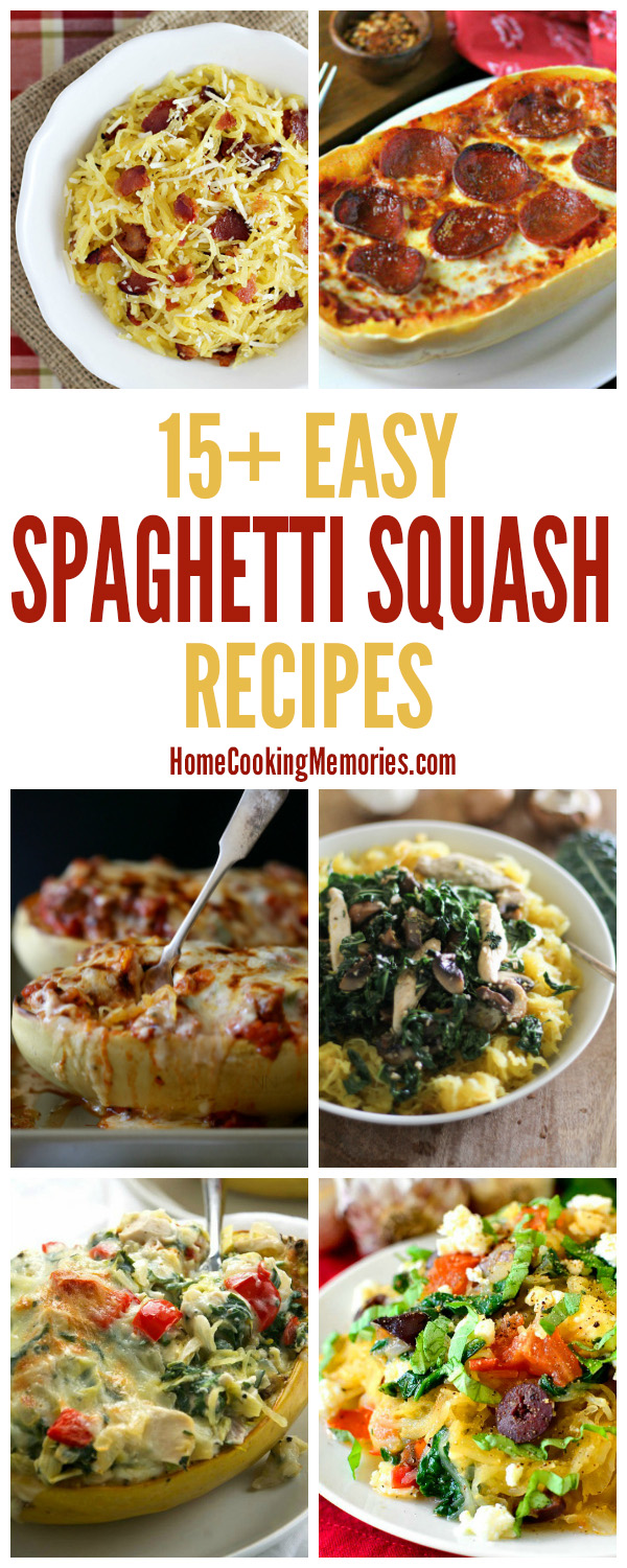 Whether you're new to cooking spaghetti squash or a pro, you're going to love this: 15+ Easy Spaghetti Squash Recipes! Simple recipes that will give you plenty of ideas and inspiration for using spaghetti squash as a main dish or side dish.
