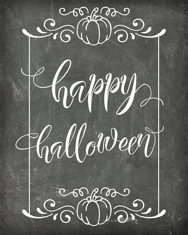 "Free Printable ""Happy Halloween"" Chalkboard Art"