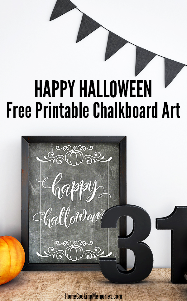 "Celebrate Halloween with our free printable ""Happy Halloween"" chalkboard art! Just print on your home printer, frame, and display. Available in both 8x10"" and 5x7"" sizes."