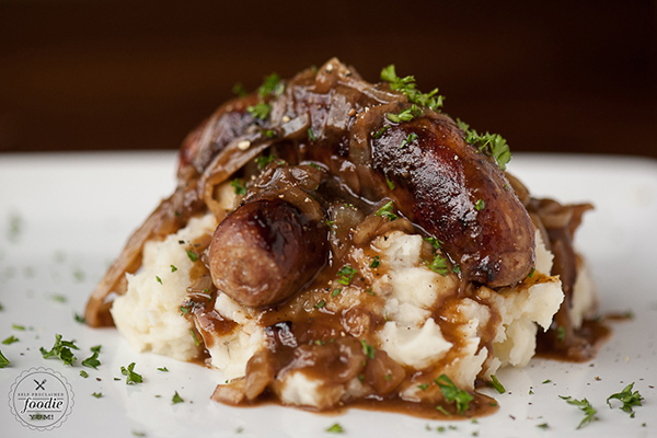 BANGERS & MASH WITH STOUT ONION GRAVY Recipe by Self Proclaimed Foodie