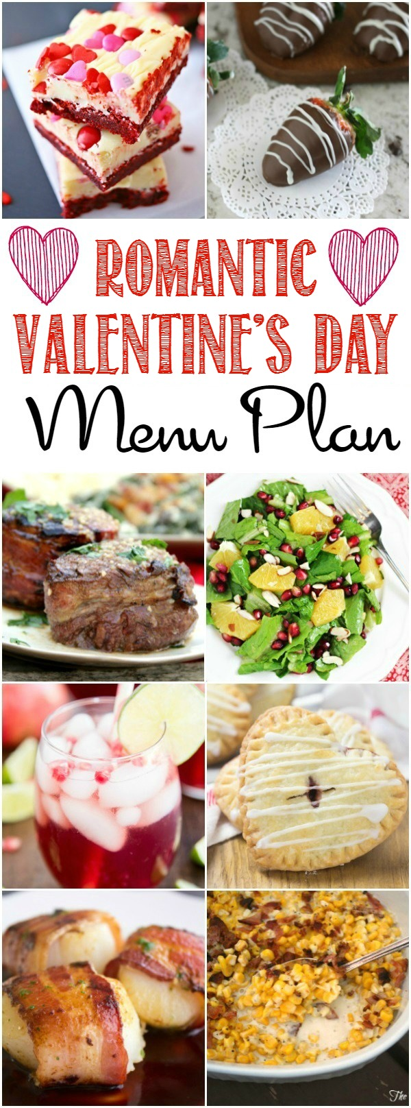 Save money and avoid the crowds with our Romantic Valentine's Day at Home Menu Plan! It features everything you would want for this special dinner: appetizers, main dishes, side dishes, and of course, DESSERT!