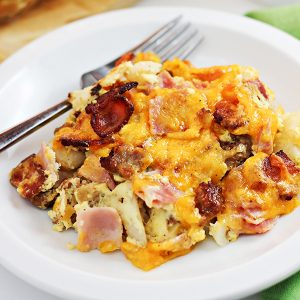 Cheesy 3-Meat Breakfast Casserole Recipe