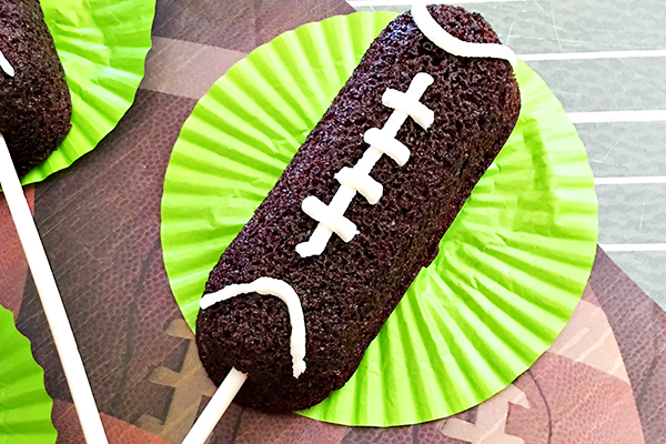 Easy Football Twinkies on a Stick