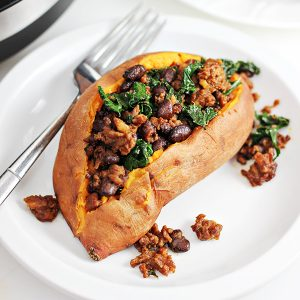 Pressure Cooker Chorizo and Kale Stuffed Sweet Potatoes Recipe (made in Crock-Pot® Pressure Cooker)